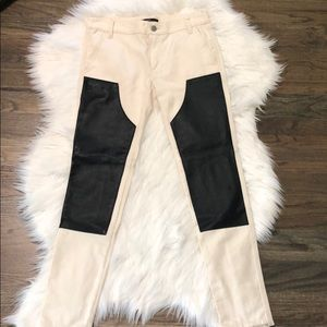 Tibi jean and leather pants! Oatmeal & black  25